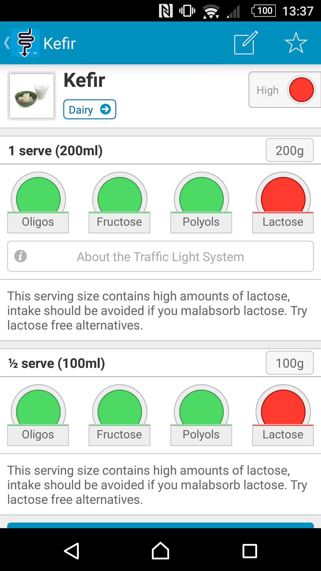 Copie écran du Kéfir sur l'application de la Monash University